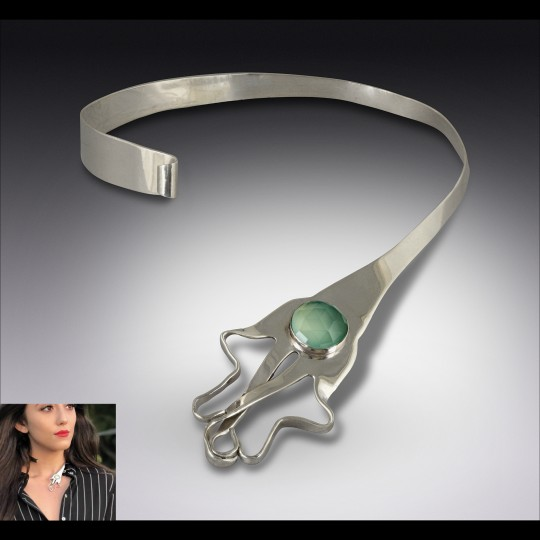 Silver Fork Hamsa Open Choker with Natural Aqua Chalcedony Gemstone