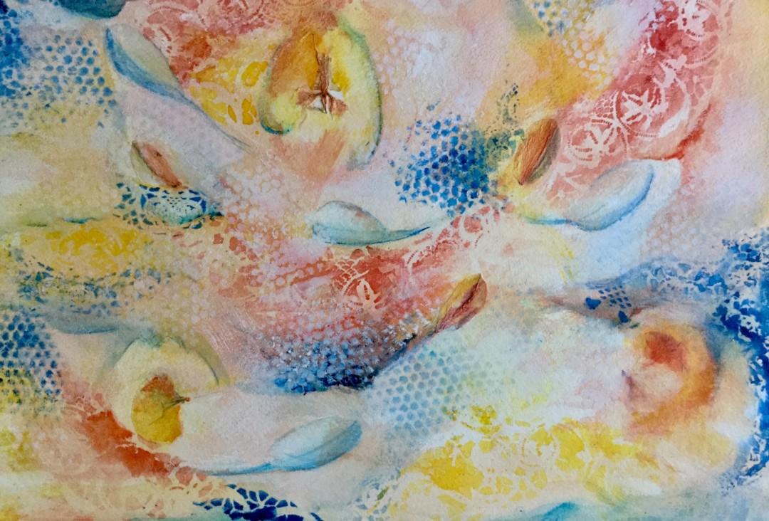 Peaches 'n Cream - artwork by Barbara Swanner: peaches, breeze, wind, summer, peach, orange, blue, texture Seasons, Expressionism, Watercolor, Paper
