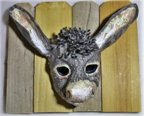 Burro on Board Wall Plaster gauze mask with fabric and tissue papercollage donkey