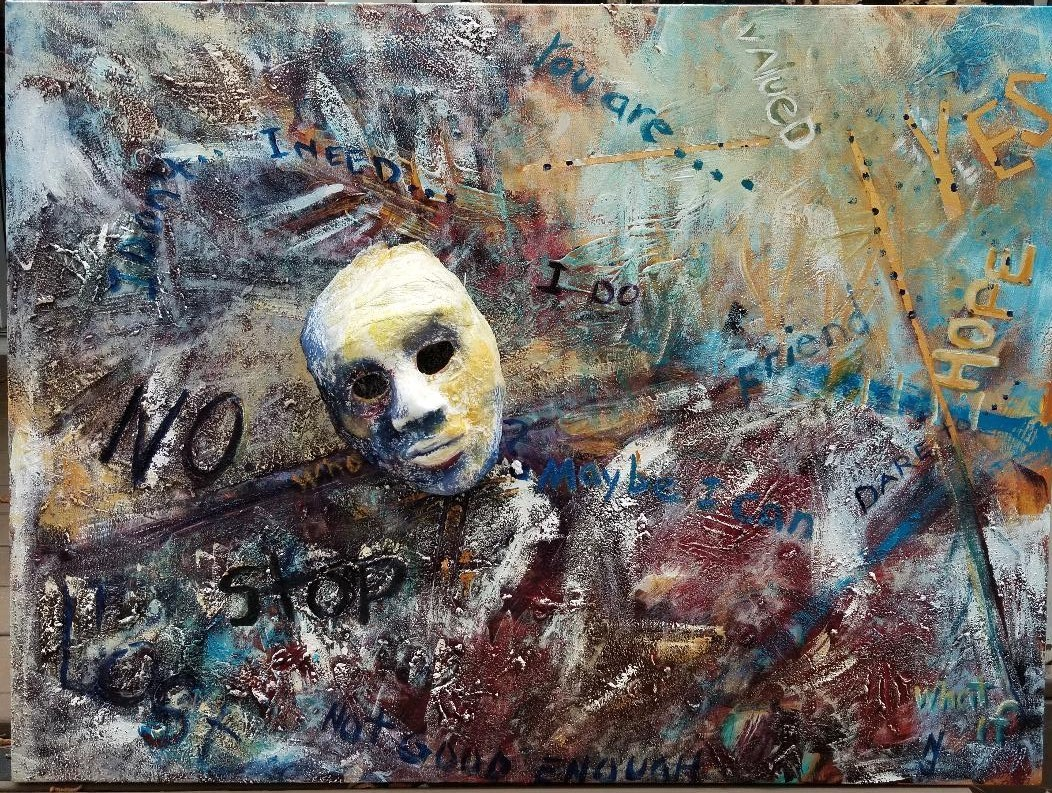 Words Matter acrylic abstract plaster mask