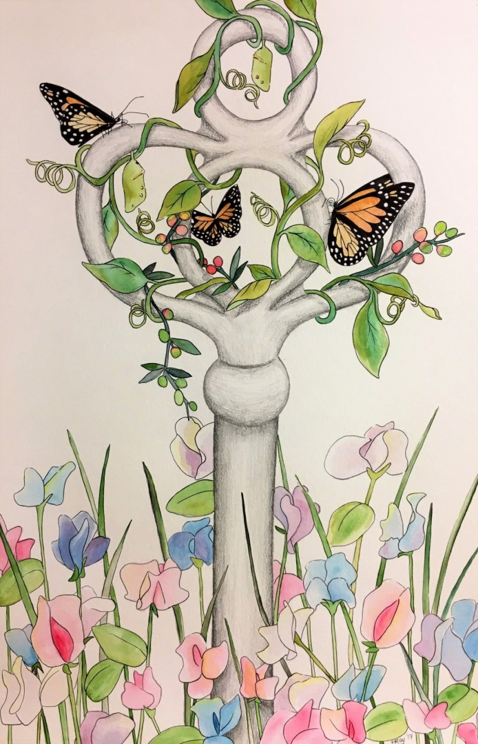Scaffold for Sentiment monarch butterflies floral