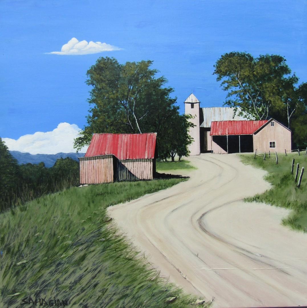 Hill Farm - artwork by Russell Sahagian: farmhouse, barn, farm, red roof, Bill Sahagian, acrylics, driveway, fall Landscape, Expressionism, Acrylic, Canvas