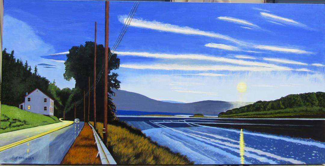 Trempealeau Moon - artwork by Russell Sahagian: Alma, Waterway, roadway, Bill Sahagian, wisconsin, acrylic Landscape, Expressionism, Acrylic, Canvas