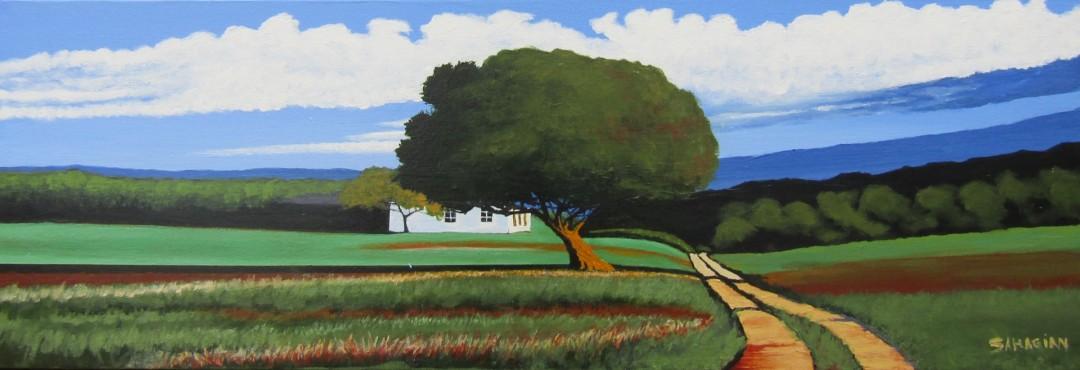 House behind the Oak - artwork by Russell Sahagian: farm, driveway, oak, nature, sunny, shadow, greenery, Bill Sahagian, acrylic Landscape, Expressionism, Acrylic, Canvas