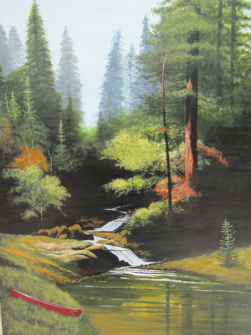 Red Canoe - artwork by Russell Sahagian: red canoe, rock river, Bill Sahagian, water scene, river theme, pastoral Landscape, Expressionism, Acrylic, Canvas