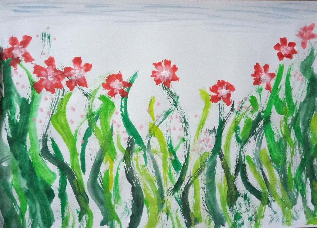 Floral painting  - artwork by Pinky Pamila  Christy :  Botanical, Other, Watercolor, Paper