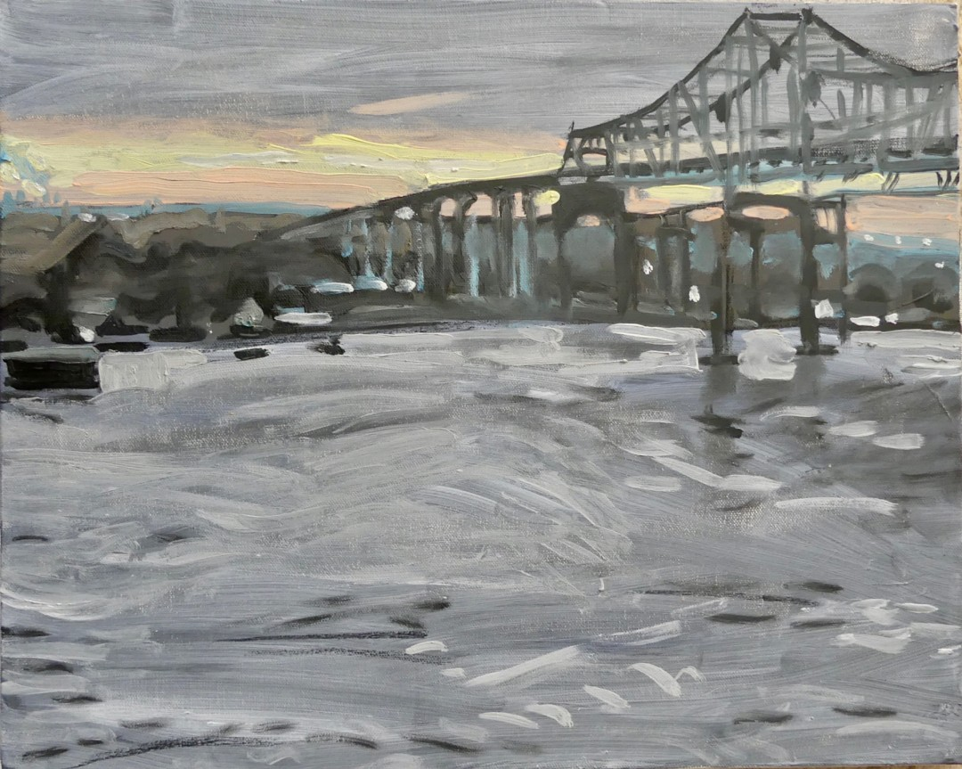 NOLA Dawn - artwork by Ross Skoggard: Mississippi, River, New Orleans, sunrise Maritime, Expressionism, Oil, Canvas