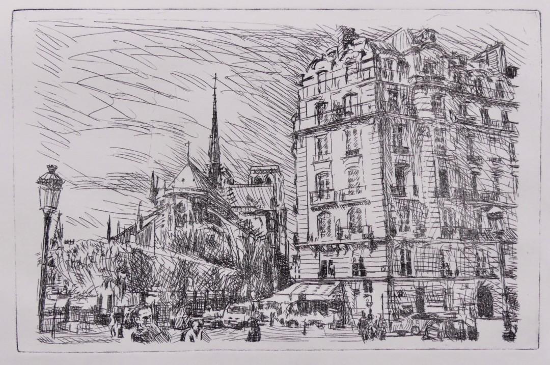 Ile de la Cite - artwork by Ross Skoggard: Paris, NotereDame, Ile de la Cite, France, etching, black and white Architecture, Expressionism, Printmaking, Paper