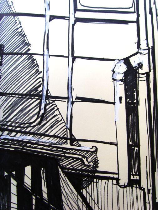 No Easy Steps - artwork by Kristine McCallister:  Landscape, Classical, Pen & Ink, Paper