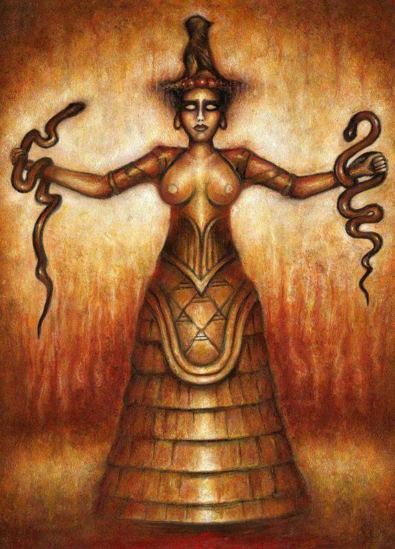 Minoan Serpent Goddess - artwork by Konstantinos Mystis: minoan serpent goddess, snake goddess, crete, knossos, snakes, dark art, oil painting, oil on paper, ancient greece, greek art, mythology, greek mythology Figures, Vintage, Oil, Paper