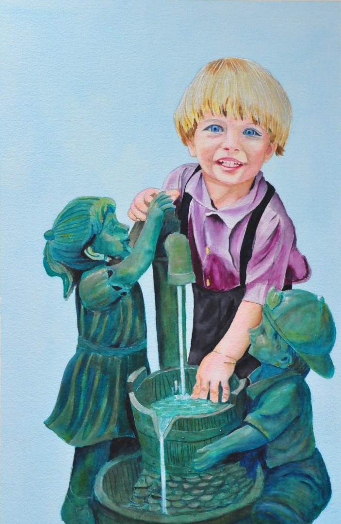 Local PlumbersUntitled - artwork by John W Walker:  Children, Realism, Watercolor, Watercolor Paper