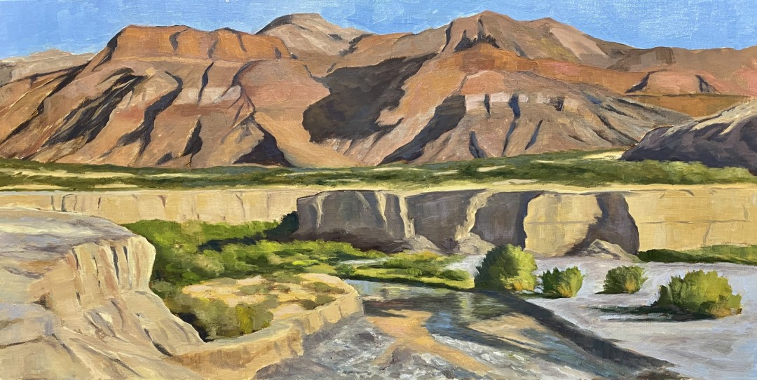 Magic on the Amargosa - artwork by David Michaels:  Landscape, Impressionism, Oil, MDF Panel