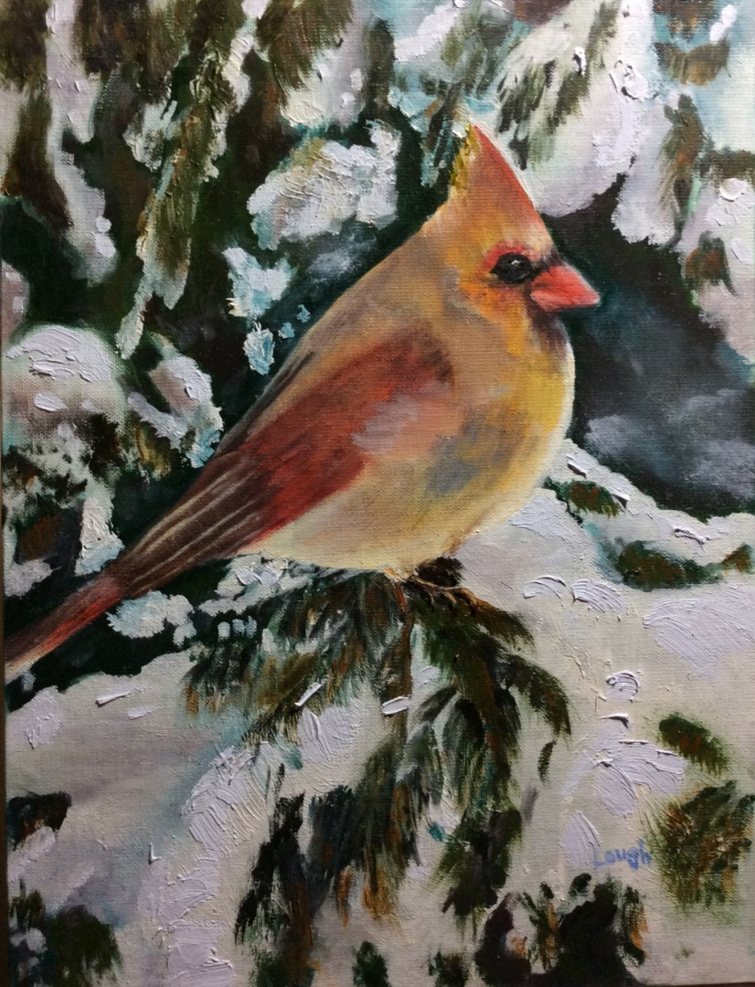 In a Snowy Tree   - artwork by Charlotte  Lough:  Birds, Impressionism, Oil, Canvas