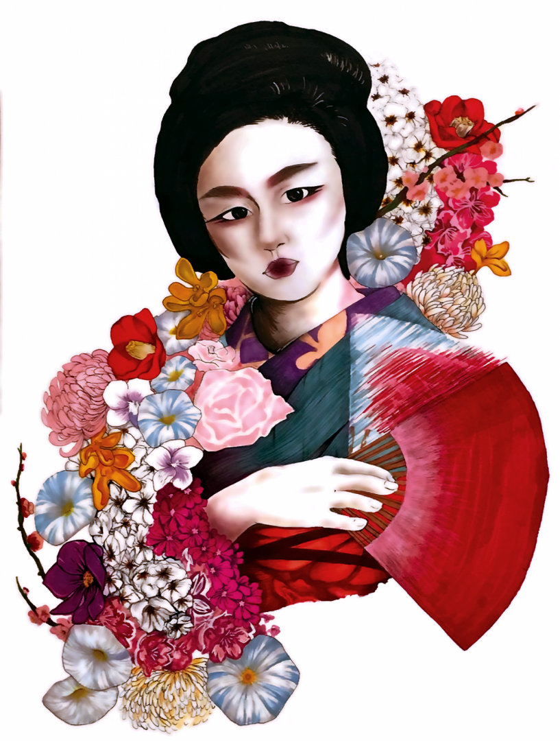 Geisha - artwork by Rosa Gonzales:  Other, Other, Mixed Media,