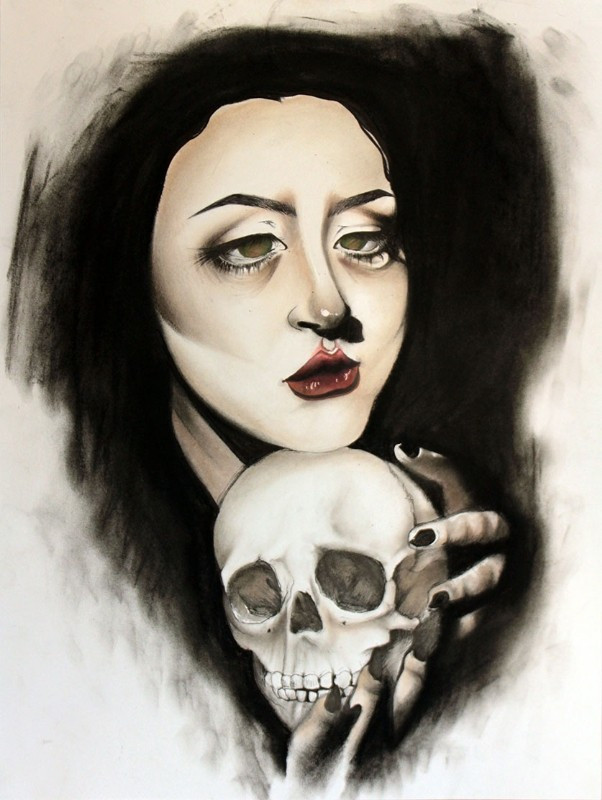 Nevermore - artwork by Rosa Gonzales:  Portraits, Mixed Media, Paper
