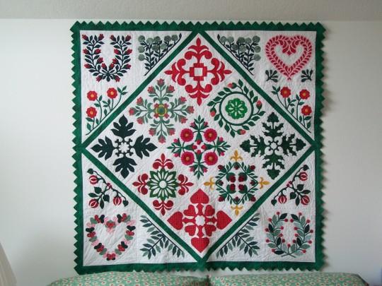 Red, White & Green Baltimore Album Quilt