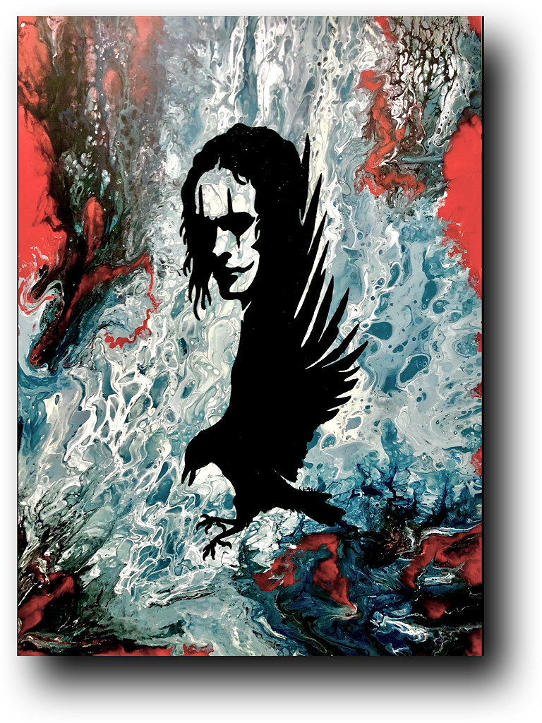 Can't Rain All the Time - artwork by Larissa  Laslo: the crow, brandon lee, movie art, the crow painting, brandon lee painting, abstract art, modern art, paint pour, fluid acrylic, fluid art, contrasting colors, detroit art, detroit artist, abstract painting, canvas painting Other, Abstract, Acrylic, Canvas