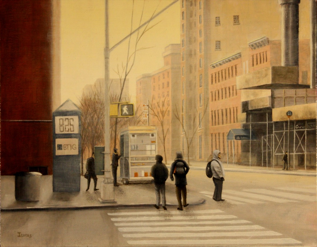 'Morning 50th and 3rd' - artwork by Bob Ievers: NYC, ,Manhattan Landscape, Realism, Oil, Wood Panel