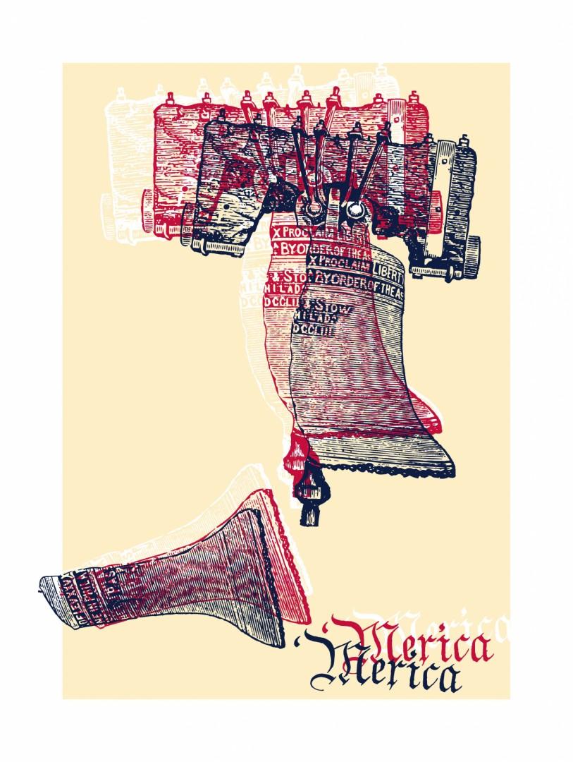 'Merica United States of America USA Liberty Bell screenprint noise