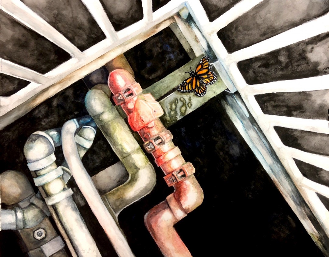 Fallen Monarch butterfly watercolor pipes rust