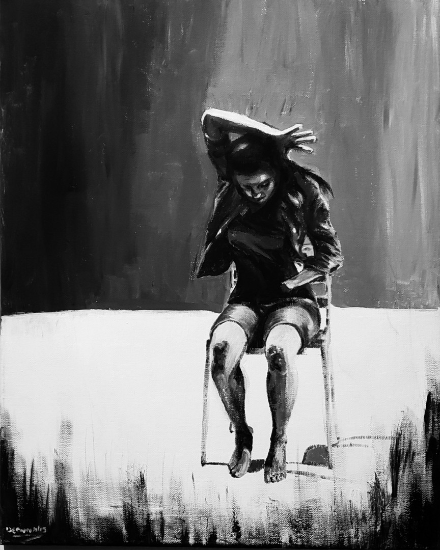 Isolation - artwork by Deanna Belton: monochromatic, dancer, black and white Portraits, Other, Acrylic, Canvas