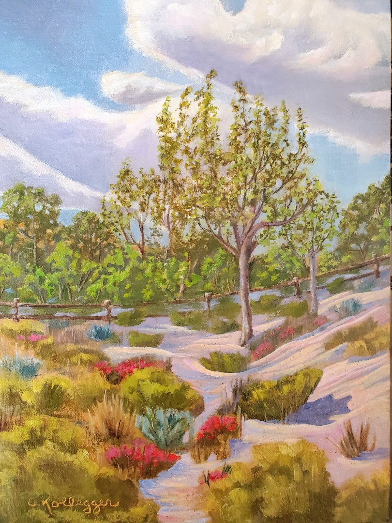 Reaching For The Sky  - artwork by Carolyn Kollegger: Red Rock Canyon, Red Rock Canyon National Conservation Area, Nevada, Nevada Art, Calico Basin, Western Art Landscape, Realism, Oil, Canvas