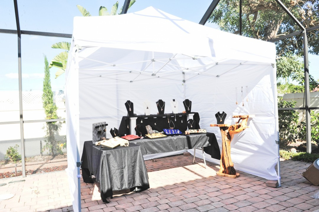 Tent set up with jewelry