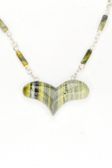 Free form serpentine heart with matching chain, SS