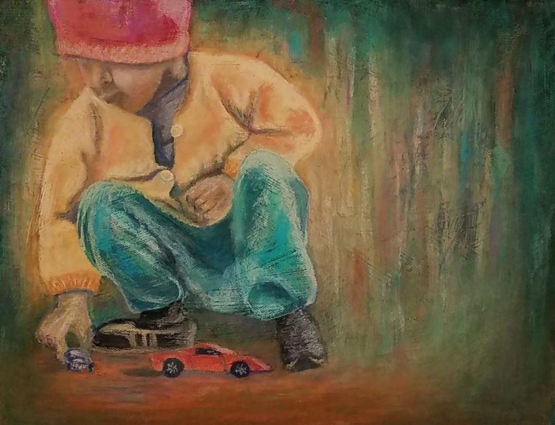 Big Dreams - artwork by Deborah Peters: child, playing, soft pastel, painting, original painting, car, toys, children, debi peters, impressionism, colorful, modern, contemporary, room, decor, art Children, Impressionism, Pastels, Paper