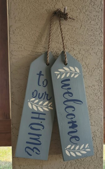 Large wooden door tag