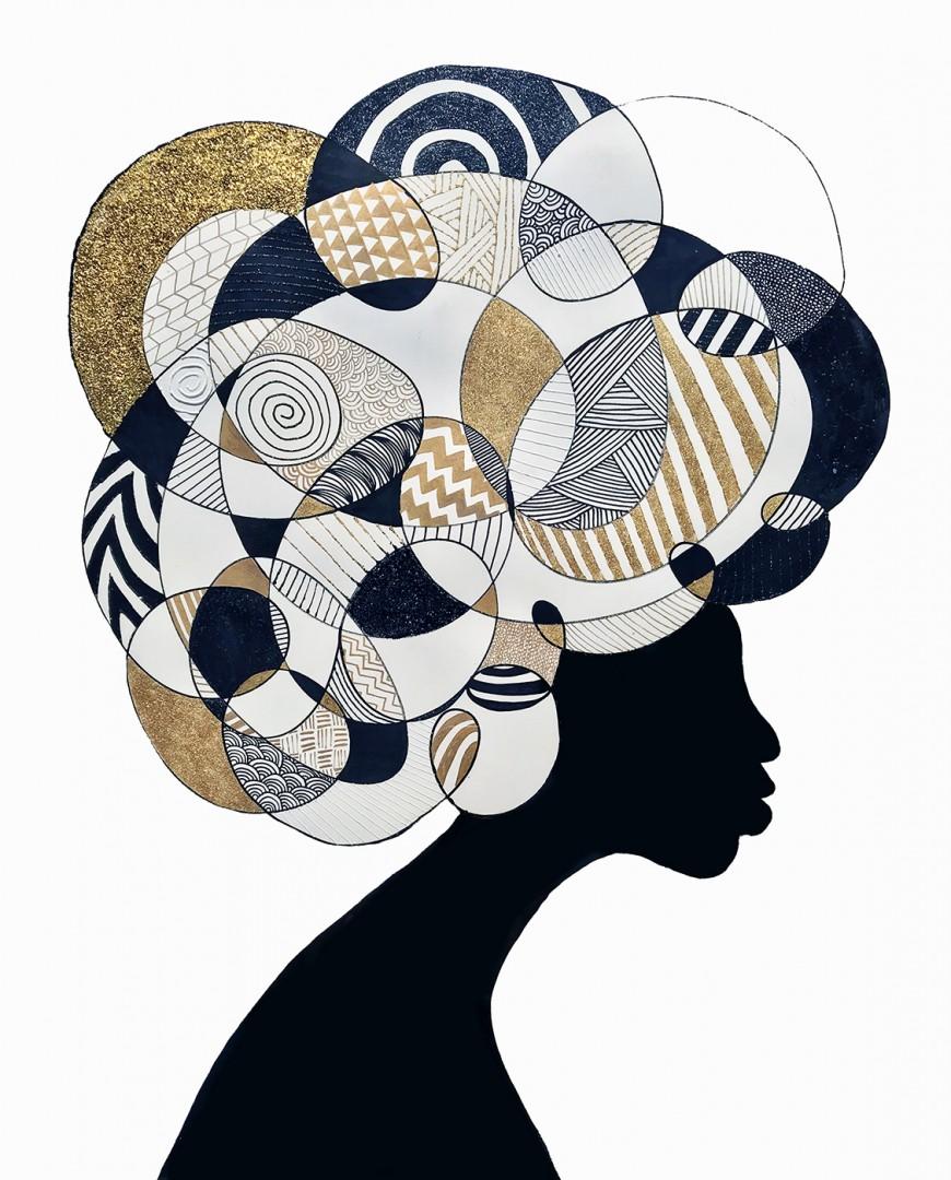 Ebony afro black gold white pattern bold