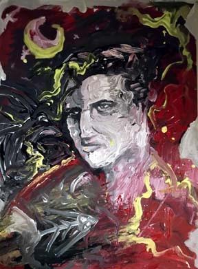 fishbone elvis - artwork by apostoly peter (toly aK) kOUROUMALIS:  Portraits, Surrealism, Canvas