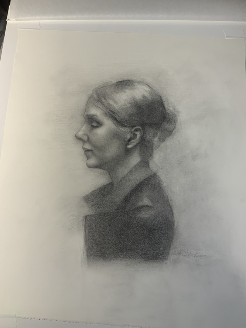 """""""Cornelia"""" - artwork by Sandy Freckleton Gagon:  Portraits, Classical, Other, Paper"""