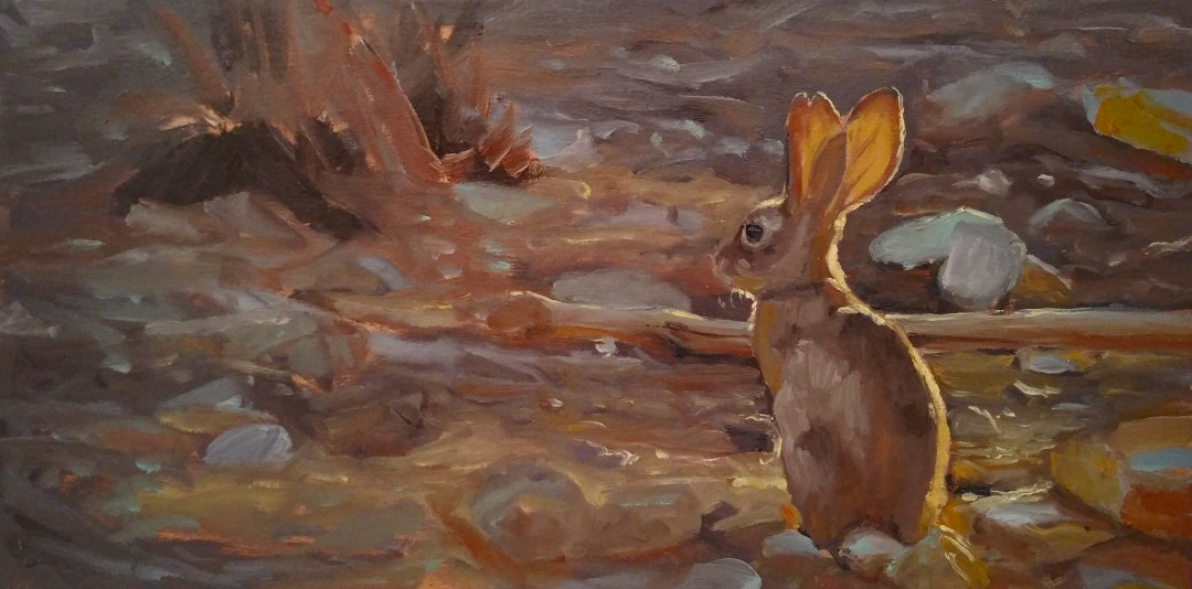 Earth Is The Only Planet With Bunnies - artwork by Johan Sorvala: rabbit, sunlight Animals, Impressionism, Oil, MDF Panel