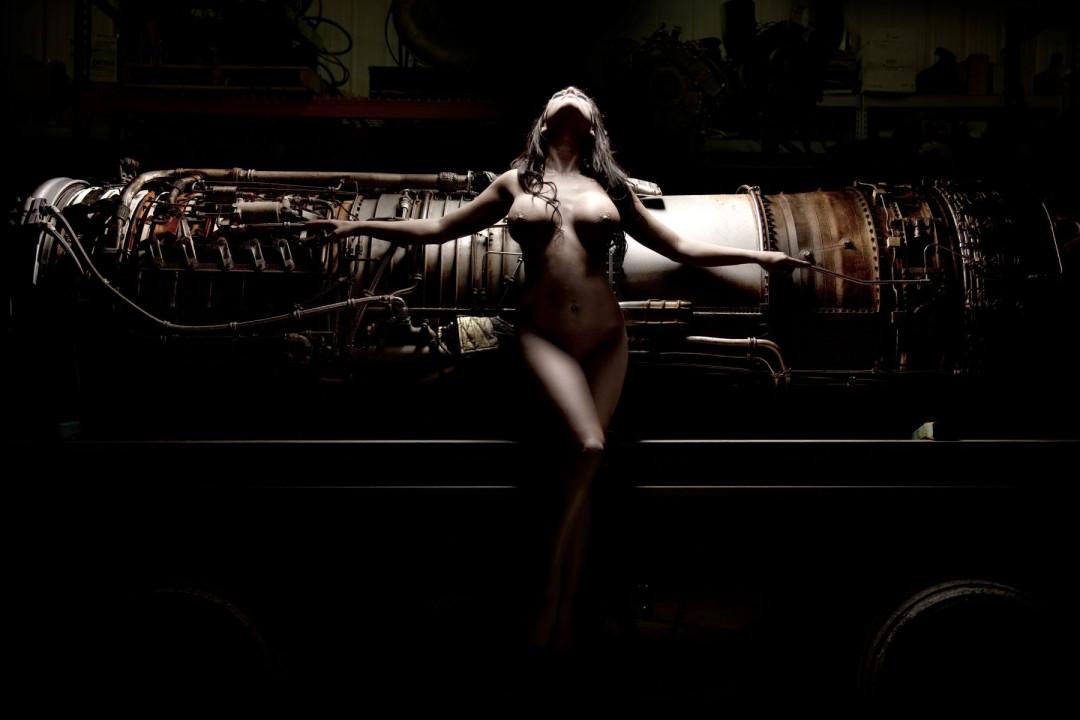 Jet City - artwork by Dario Impini: jet, engine, nude, female, airplane Figures, Classical, Photography Digital, Metal