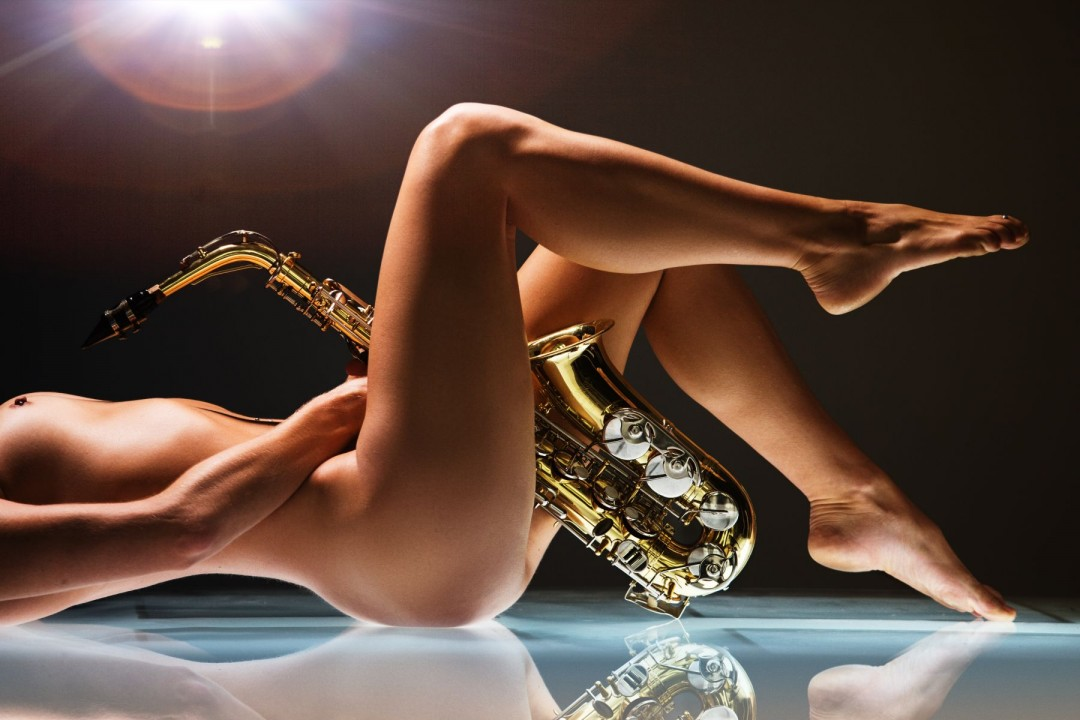 Blow Me - artwork by Dario Impini: saxophone, horn, music, brass, instrument, nude, female Figures, Classical, Photography Digital, Metal