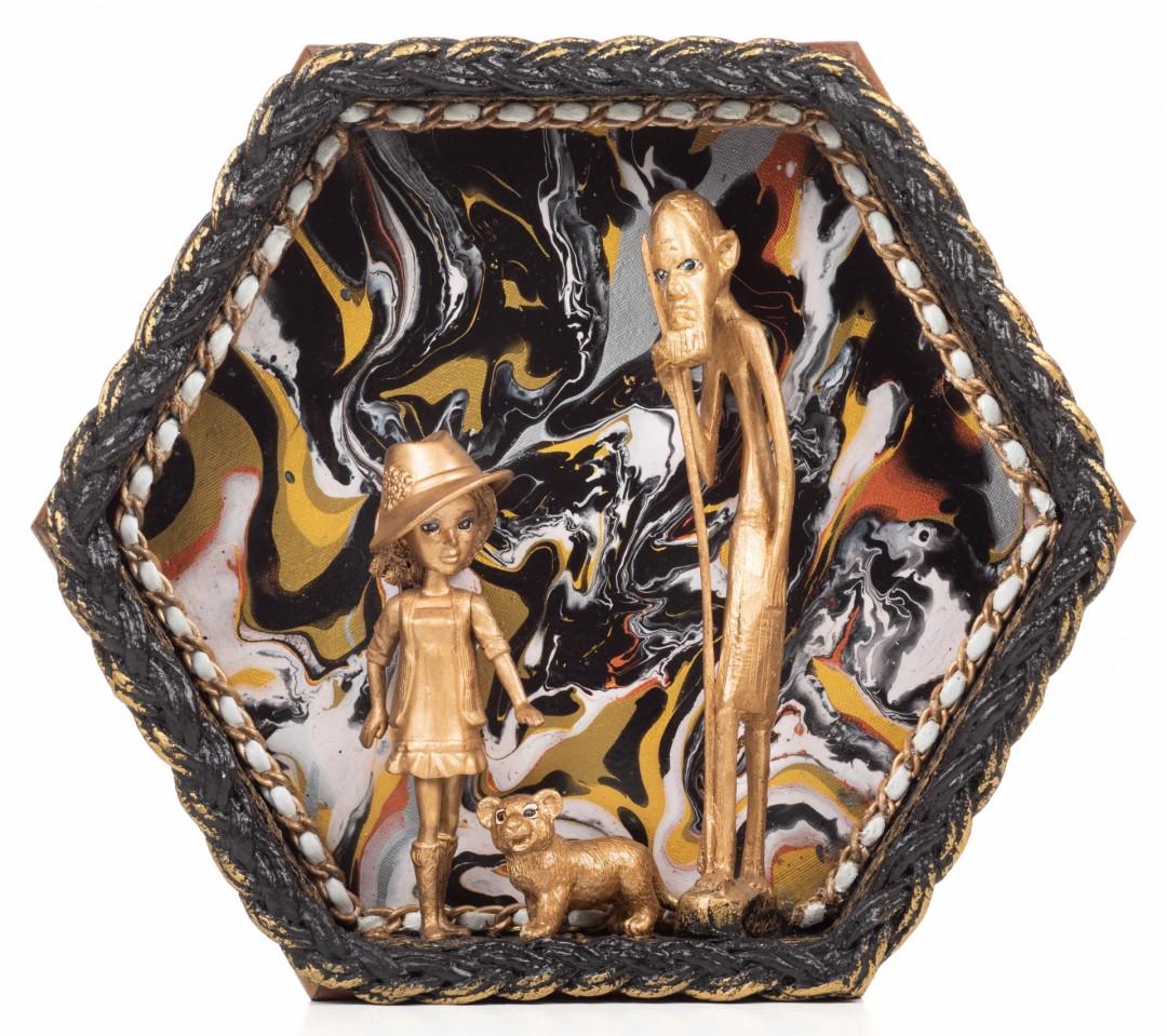 Heritage - artwork by JoAnn Borovicka:  Figures, Surrealism, Mixed Media, Wood Panel