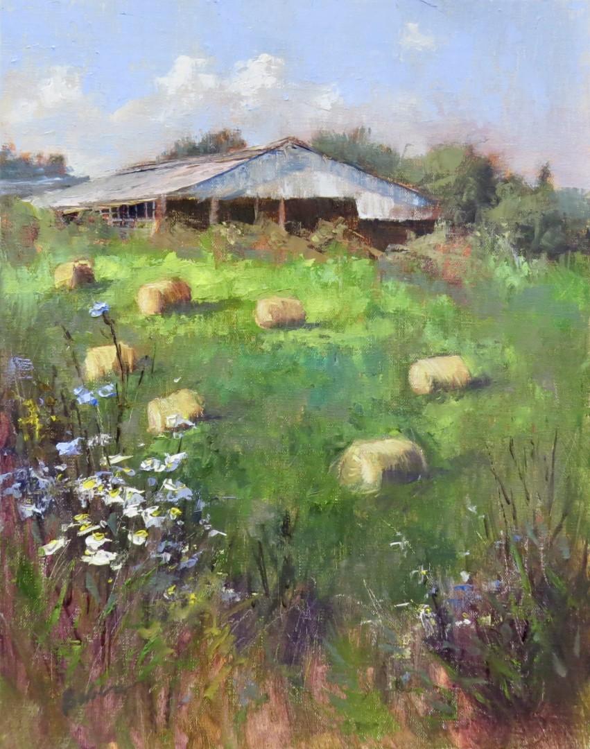 Fairfield Pig Farm pig farm hay bales plein air gabriele baber midwest landscape hay bale paintings