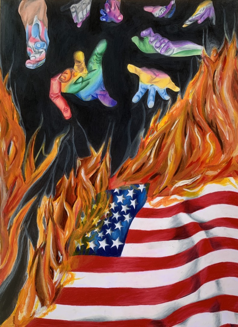 Color of Equality - artwork by Ana Vargas: art, lgbt, equality, flag, fire, colors, colorpencil, watercolor Other, Expressionism, Other, Other
