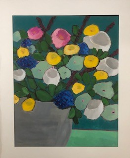 Grey Vase - artwork by Jacky Pullman:  Botanical, Impressionism, Acrylic, Canvas