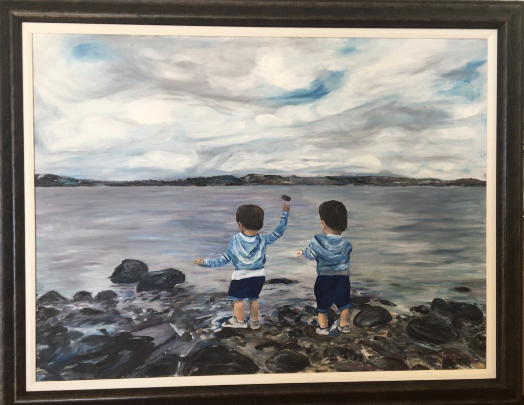 Twins and Rock - artwork by Cary Hancock:  Children, Realism, Oil, Canvas