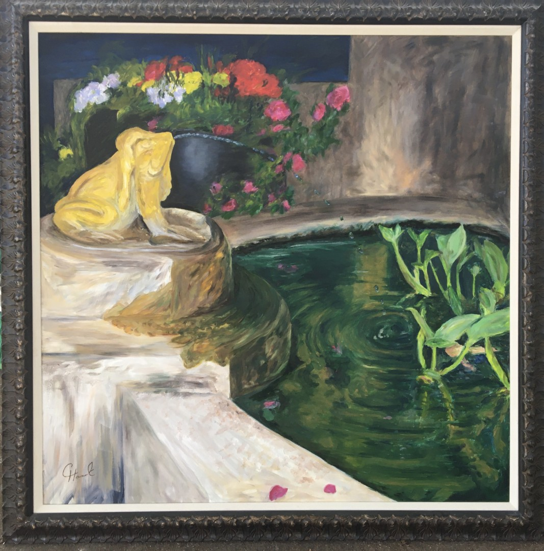 Frog Fountain - artwork by Cary Hancock:  Animals, Realism, Oil, Canvas