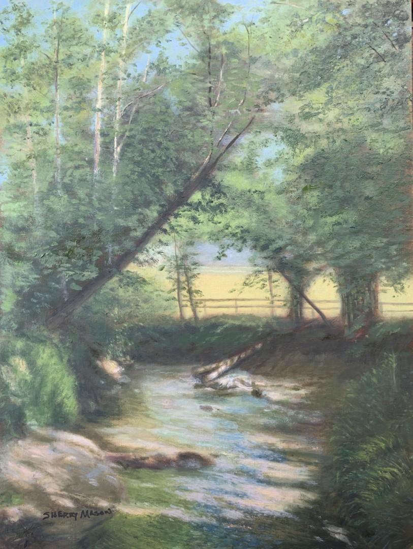 Creekside Morning Reflections - artwork by Sherry Mason: creeks, sherrymasonart, landscapepainting, oilpainting, creekpainting, pleinairpainting Landscape, Realism, Oil, Wood Panel