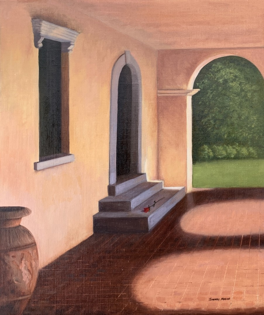 All the World's a Stage - artwork by Sherry Mason: italianpainting, italy, sherrymasonart, rose, outdoortheatre, alltheworldsastage Architecture, Realism, Oil, Wood Panel