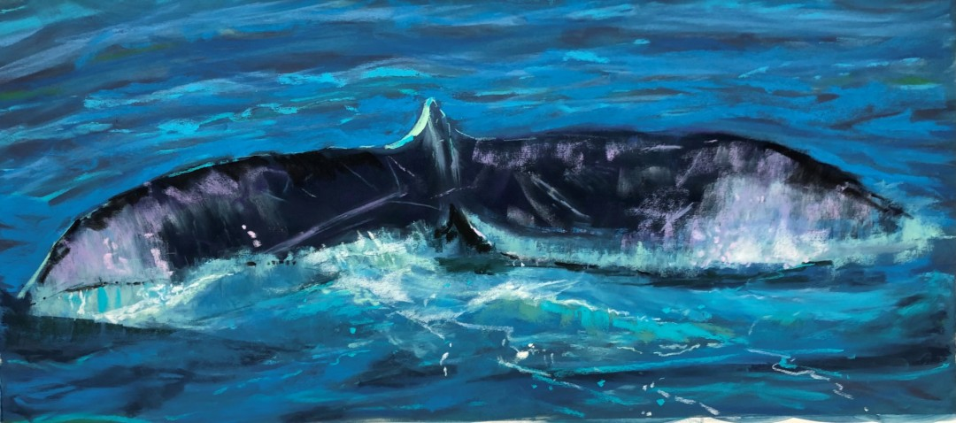 Ptown Whale Tail - artwork by Bill Righter: pastel, whale, cape cod Nature, Realism, Pastels, Paper