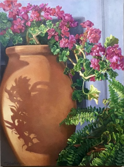 Terracotta Pot:  Cascading Geraniums