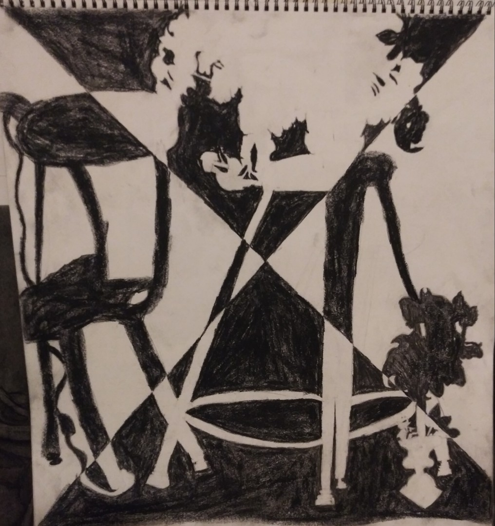 Strobe Still Life - artwork by Taylor Richards:  Still Life, Abstract, Charcoal, Paper