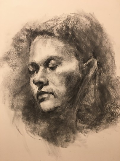 Charcoal portrait from life