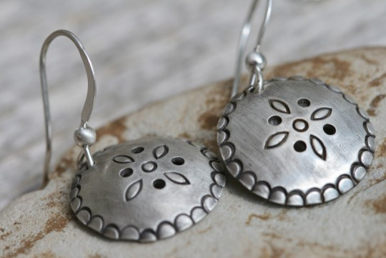 Boho disc earrings in sterling