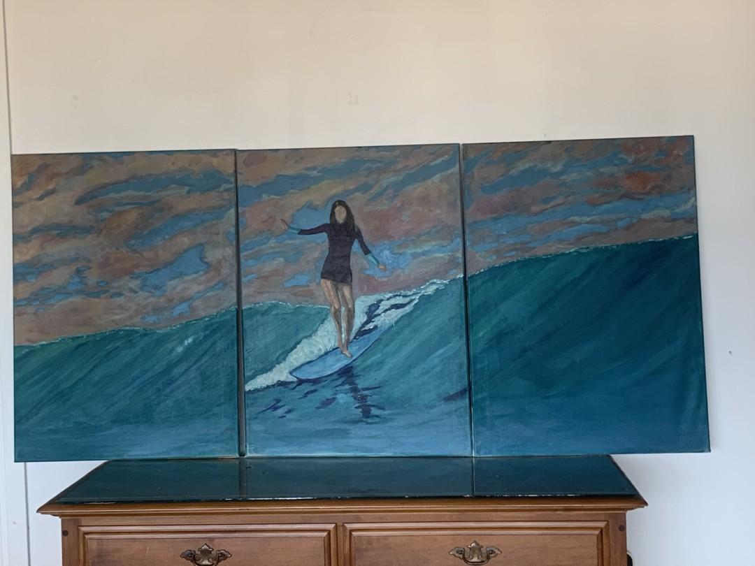 Longboardess - artwork by Juanita Aguerrebere: Surfing, Hawaii, Longboards Figures, Impressionism, Canvas